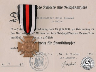 Germany, Third Reich. An Honour Cross of the World War 1914/1918, with Award Document, by Paul Schulze