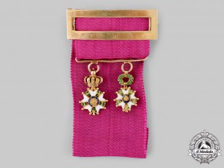 France, II Empire. A Fine Gold Legion D'Honneur Miniature Pair, c.1890