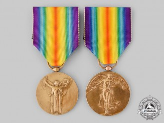 Belgium, Kingdom; France, Third Republic. Two First War Victory Medals