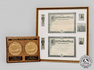 Canada. The Memorial Plaques & Canadian Expeditionary Force Death Certificates of the Galloway Brothers of Calgary, Alberta
