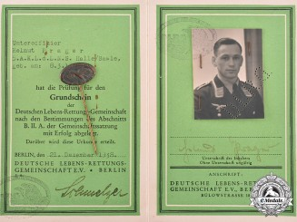 Germany, DLRV. A Life Saving Association (DLRV) Certification to Luftwaffe Unteroffizer Helmut Prager