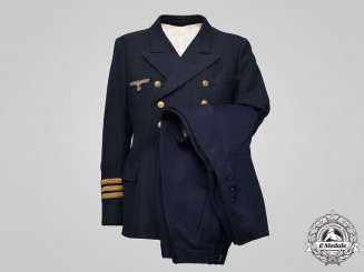 Germany, Kriegsmarine. A Korvettenkapitän Reefer Jacket, Vest, and Riding Breeches
