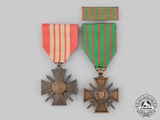 France, III Republic. Two War Crosses (Croix de Guerre)