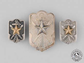 Japan, Empire. Three Imperial Time Expired Soldiers League Badges