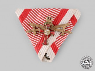 Austria, Imperial. A Franz Joseph Order Ribbon with Small Decoration to the Officer's Cross & Swords (Collectors Copy)