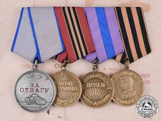 Russia, Soviet Union. A Bravery Medal Group, to Private Popadenko Vasiliy Mikhaylovich, 1st Ukrainian Front