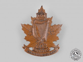 "Canada, CEF. A 208th Infantry Battalion ""Canadian Irish"" Cap Badge, c.1916"