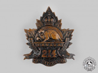 "Canada, CEF. A 214th Infantry Battalion ""Saskatchewan Battalion"" Cap Badge, by Dingwall, c.1916"