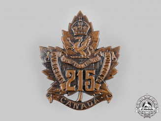 Canada, CEF. A 215th Infantry Battalion Cap Badge, by Birks, c.1916