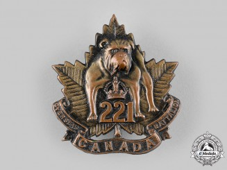 Canada, CEF. A 221st Infantry Battalion Cap Badge, by Dingwall, c.1916