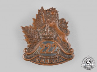 Canada, CEF. A 222nd Infantry Battalion Cap Badge, c.1916