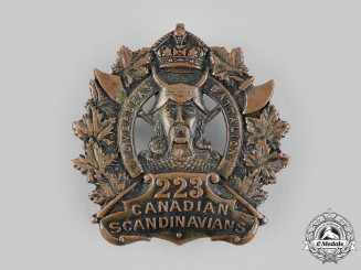 "Canada, CEF. A 223rd Infantry Battalion ""Canadian Scandinavians"" Cap Badge, c.1916"