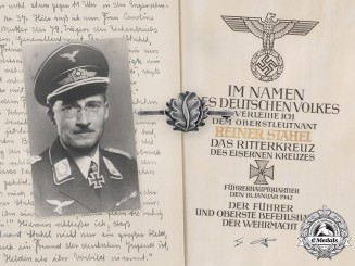 Germany, Luftwaffe. The Oak Leaves, Knight's Cross Document With Presentation Folder to Generalleutnant Rainer Stahel
