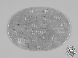 Germany, Heer. A Jäger-Ersatz-Regiment 1 Identification Tag