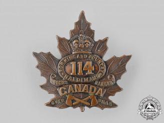 "Canada, CEF. A 114th Infantry Battalion ""Brock's Rangers"" Cap Badge, by P.W.Ellis, c.1916"