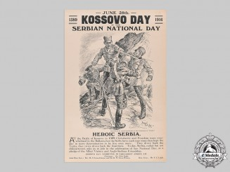 Serbia, Kingdom. A Mint & Historically Important British Kosovo Day Celebration Poster, c.1917