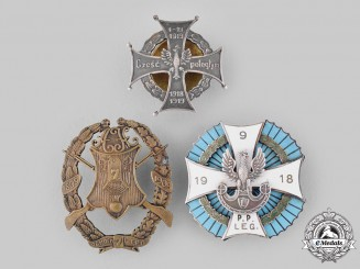 Poland, People's Republic; Russia, Imperial. Three Regimental Badges