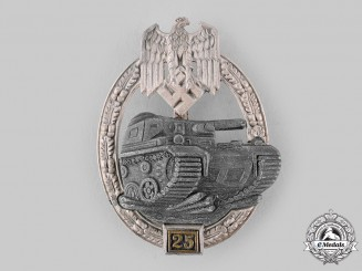 Germany, Wehrmacht. A Special Grade Panzer Assault Badge for 25 Engagements, by Josef Feiz & Söhne
