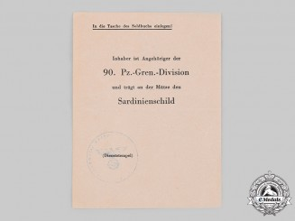 Germany, Heer. A Rare Award Document for a Sardinia Shield