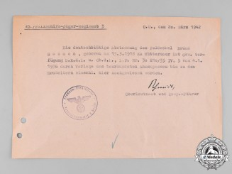 Germany, Luftwaffe. A Confirmation of German Ancestry for Fallschirmjäger Feldwebel Sassen, KC Recipient