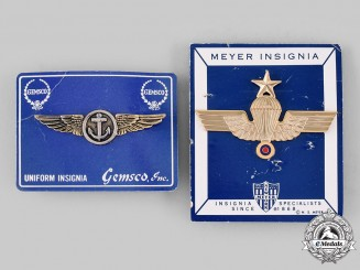 United States; Venezuela, Republic. Two Naval Aviation Badges