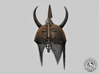 Persia, Empire. A Late 20th Century Tourist Industry Khula Khud Helmet (Devil Mask)