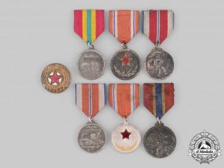 Korea, Democratic People's Republic. Six Medals & One Cap Badge