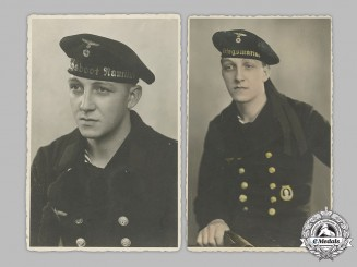 Germany, Kriegsmarine. Two Period Studio Portraits Of A Sailor (Minesweeper)