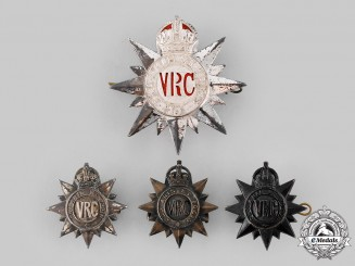 Canada, Dominion. Four King's Crown 3rd Regiment, Victoria Rifles of Canada Badges, c. 1904-1920