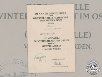Germany, Heer. An Eastern Front Medal Award Document To Feldwebel Ludwig Gruber, 1942