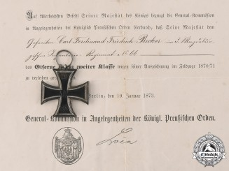 Germany, Imperial. An 1870 Iron Cross II Class with Award Documents, to Carl Ferdinand Friedrich Becker