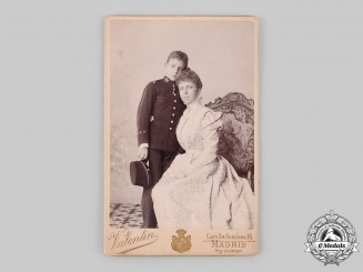 Spain, Kingdom. A King Alfonso XIII and Regent Maria Christina of Austria Studio Portrait Photograph 1898