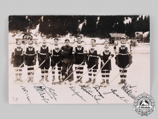 Germany, Weimar Republic. A Signed Photograph of the German National Hockey Team at the 1930 World Ice Hockey Championships