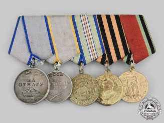 Russia, Soviet Union. A Second War Veteran's Bravery & Caucasus  Service Medal Bar