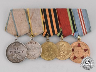 Russia, Soviet Union. A Second War Veteran's Bravery Medal Bar