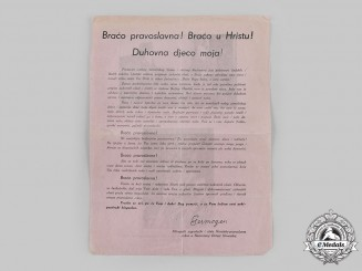Croatia, Independent State. An Anti-Communist Propaganda Leaflet from Metropolitan Germogen, Croatian Orthodox Church
