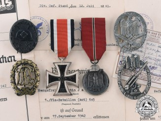 Germany, Heer. An Extremely Rare Tombak Army Flak Badge & Documents to Martin Janßen