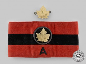 "Canada, Commonwealth. A Canadian Military Headquarters, Group ""A"" Armband & Badge, c.1942"
