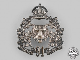 Canada, Dominion. A 91st Regiment Canadian Highlanders Bonnet Badge c.1908