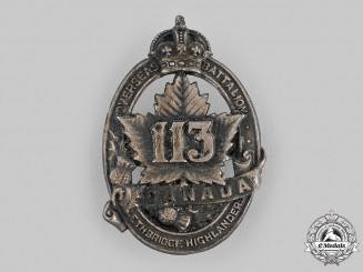 "Canada, CEF. A 113th Infantry Battalion ""Lethbridge Highlanders"" Cap Badge, by D.E.Black, c.1916"