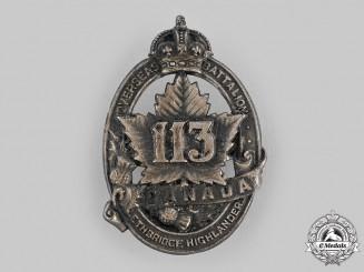 "Canada, CEF. A 113th Infantry Battalion ""Lethbridge Highlanders"" Cap Badge, by D.E.Black, c.1916"