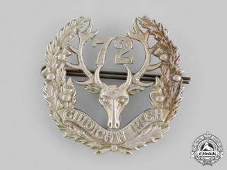 "Canada, CEF. A 72nd Infantry Battalion ""Seaforth Highlanders"" Glengarry Badge, c.1915"