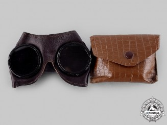 Germany, Wehrmacht. A Pair of General Purpose Goggles, with Case, by Merz-Werke