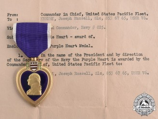 United States. A Purple Heart to Seaman Krenek, Wounded During Roi Island Attack, February 12, 1944