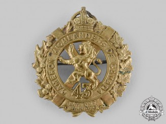 "Canada, CEF. A 43rd Infantry Battalion ""Cameron Highlanders"" Glengarry Badge, c.1915"