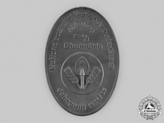 Germany, NSAD. A National Socialist Labour Service (NSAD) Staumühle 1934/1935 Commemorative Plaque