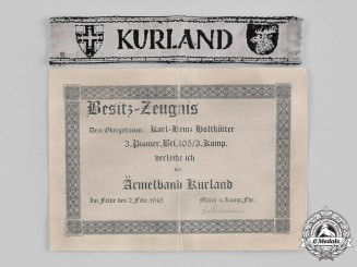 Germany, Heer. A Kurland Cuff Title, with Award Document, to Karl-Heinz Holtkötter