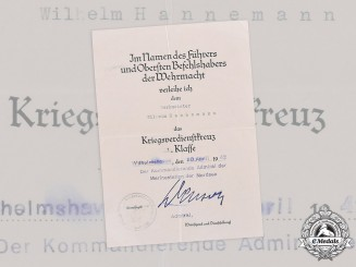 Germany, Kriegsmarine. An Award Document for a War Merit Cross, I Class, to Werkmeister Wilhelm Hannemann