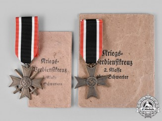 Germany, Wehrmacht. Two War Merit Crosses, II Class, by Jakob Bengel & Otto Zappe