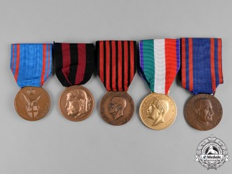 Italy, Kingdom. A Lot of Five Medals & Awards